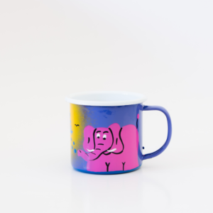 Hand painted enamel mug jungle elephant blue