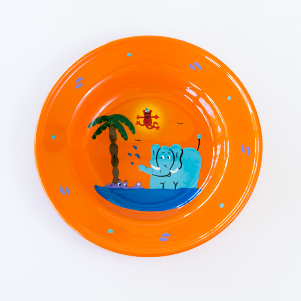 Hand painted Jungle enamel bowl