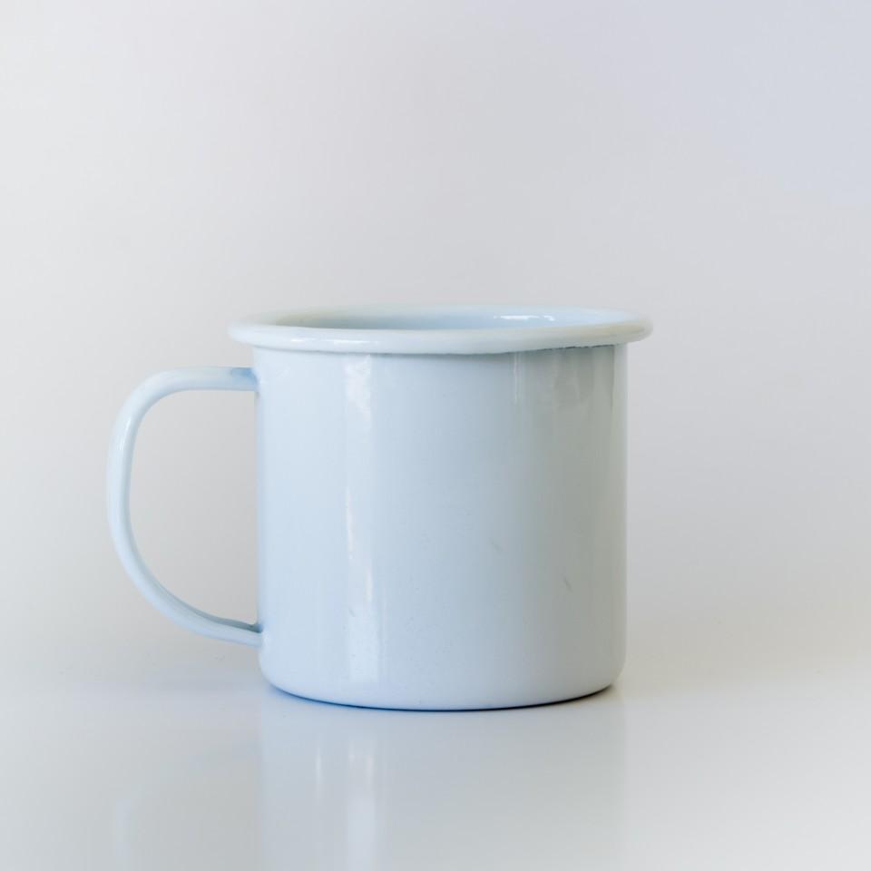 white enamel mug