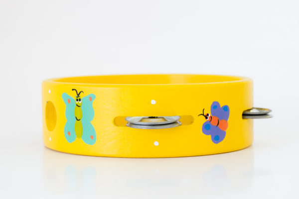 hand painted wooden butterfly tambourine