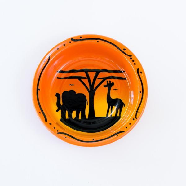 Hand painted elephant and giraffe silhouette enamel plate