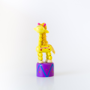 Hand painted wooden giraffe press up toy