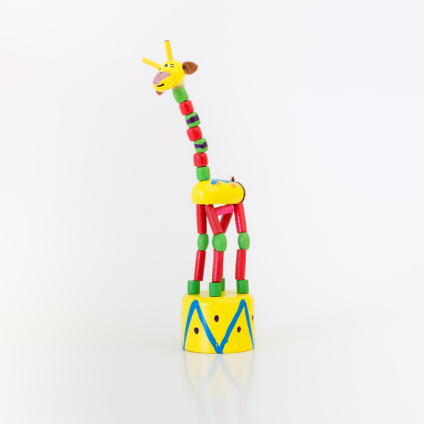 hand painted wooden press up toy giraffe