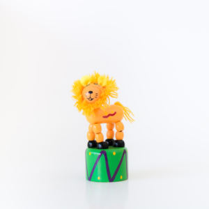 Hand painted wooden Lion press up toy
