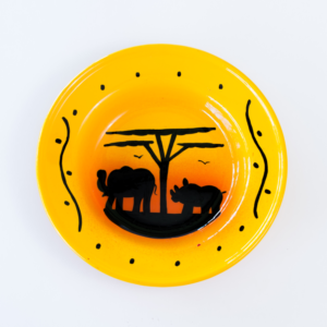 hand painted rhino elephant sunset enamel bowl
