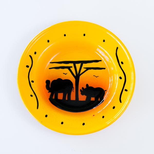 hand painted rhino elephant sunset enamel bowl