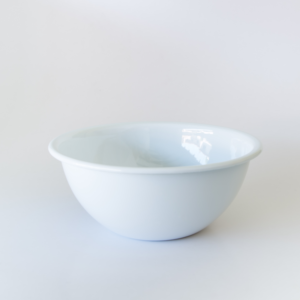 white enamel salad bowl