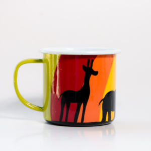 hand painted rainbow jungle mug