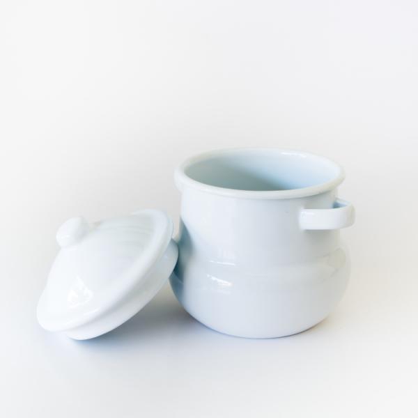 Enamel sugar bowl with lid